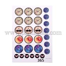 diy sbooking bottle caps clock pattern design non adhesive paper stickers collage sheets for clear flat round glass tile cabochon pendants mixed color