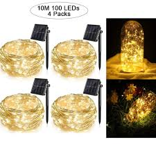 100 White Outdoor Led Solar Fairy Lights 4 Pack Solar String Lights For Garden Patio Christmas Tree Indoor Bedroom 100 Leds Decorative Fairy Lighting Copper Wire Waterproof Outdoor