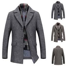 men s casual wool trench coat fashion business long thicken slim overcoat jacket 11street malaysia blazers coats
