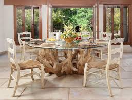 unique dining furniture. Unusual Dining Furniture. Unique Table With Round Glass Plate. Impressive Natural Teak Root Furniture