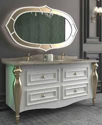 Casa Padrino Luxus Barock Badezimmer Set Weiß Grau Gold 1