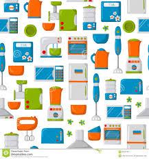 Domestic Kitchen Appliances Cartoon Kitchen Appliances Background Stock Vector Image 69227841