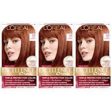 Excellence Creme Light Auburn Loreal Paris Excellence Creme Permanent Hair Color 6r Light Auburn Pack Of 3