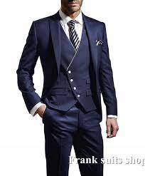 Suit Coat Pant Design 2019 Latest Coat Pant Designs Navy Blue Tuxedo Prom Wedding Men Suits Slim Fit 3 Piece Blazer Custom Jacket Groom
