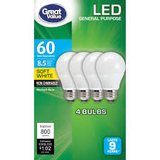 60 Watt Light Bulb Walmart Great Value Led Light Bulb 8 5w 60w Equivalent A19 Lamp E26 Medium Base Non Dimmable Soft White 4 Pack Walmart Com