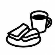 コーヒーとパンシルエット イラストの無料ダウンロードサイト