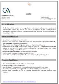 Free Sample Resume For Chartered Accountant Professional User