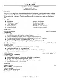Event Planner Resume Summary Event Planner Sample Resumes Fast