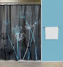 Thistle Gray Blue Fabric Shower Curtain Curtain Bath Outlet Black And Turquoise Shower Curtain