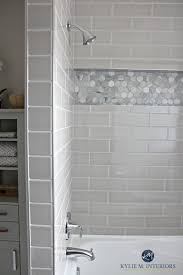 bathroom gray subway tile. Bathroom With Tub Remodel Moen Glyde Fixtures, Greige And Gray Subway Tile Hexagon O