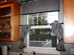 black and white kitchen curtains strip
