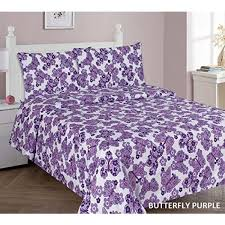 elegant home purple white erflies themed design 4 piece printed sheet set with pillowcases flat fitted