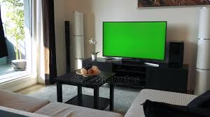 cozy living room with tv. A TV With Green Screen In Cozy Living Room\u2013 Stock Footage Room Tv K