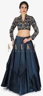 Kalki Lehenga Designs Mid Night Blue Lehenga With Embroidered Crop Top Only On