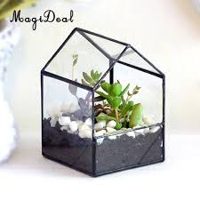 metal terrarium magideal diy geometric glass house terrarium flower pot plant