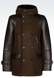brown pea coats emporio armani hooded pea coat in leather and knit