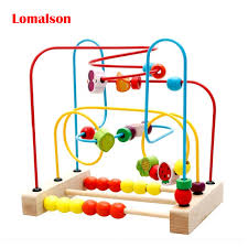 Wooden Bead Game Kids Wooden Bead Maze Montessori Educational Toy Fruit Insect 68