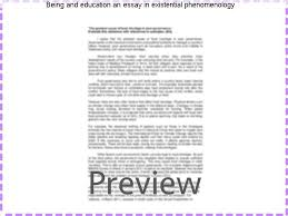 being and education an essay in existential phenomenology  being and education an essay in existential phenomenology the society for phenomenology and existential philosophy
