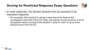 "essay question construction ""excellent"" 21 scoring for restricted response essay questions"