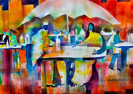 Small Picture Summer Bistro Watercolor Painting African American Art Cafe
