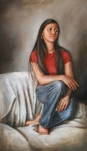 oil painting of young woman on chair