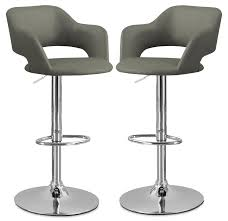 monarch hydraulic contemporary bar stool set of  – grey  the brick