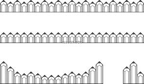 無料イラスト 短い鉛筆のライン色々モノクロ