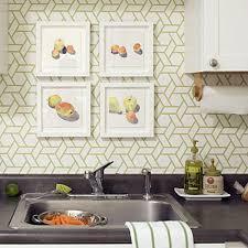 beautiful kitchen with geometric wallpaper