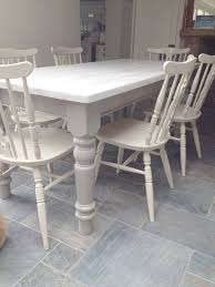 White Distressed Kitchen Table Hand Painted Farmhouse Table And Chairs Custom Order Home
