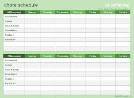 Download A Free Chore Schedule Template For Excel To Help Your Kids