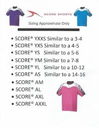 Score Uniform Size Chart