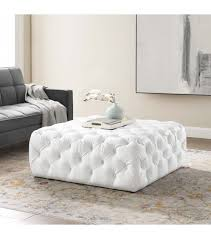 white faux leather totally tufted
