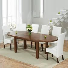 chevron dark oak oval extending dining table with 6 wayne ivory chairs 6953