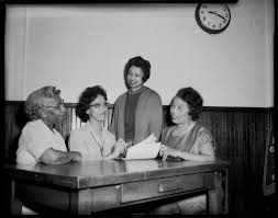 Mrs. Edna Johnson, Dr. Alice Carter, Adelade Montgomery, and Lynnie Murray  in Park Place AME Church, Homestead | CMOA Collection