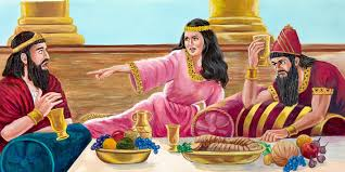 bible queen esther. At The Royal Feast Queen Esther Tells King Ahasuerus Of Plot Against Israelites In Bible