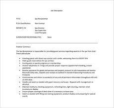 spa receptionist sample job description pdf free
