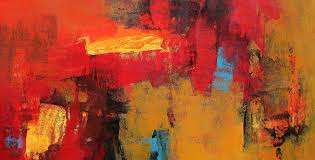 red horizontal abstract painting by artist siddhesh rane acrylic canvas
