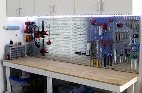 garage pegboard with led light accents