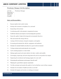 Assistant Warehouse Manager Job Description Warehouse Manager Job Description