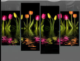 funky multi coloured tulip wall art flower row 4 panel canvas wall art picture print fabulous  on black and white tulip wall art with wall art amazing sample pictures tulip wall art modern trend 3