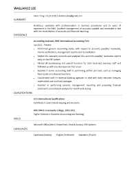 Assistant Accountant Job Resume Down Town Ken More