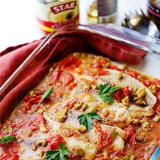 a quick easy and healthy fish recipe with olives and tomatoes that s perfect for