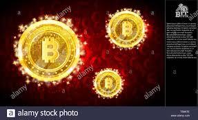 Golden Bit Coins Flying On Light Red Horizontal Background