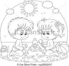 kids at the beach clipart black and white.  Beach Children Playing On A Beach  Csp20632437 And Kids At The Beach Clipart Black White E
