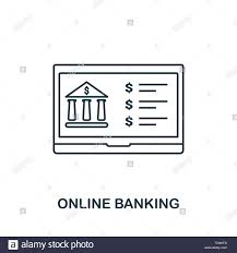 Online Banking Outline Icon Thin Line Style Icons From