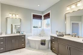 traditional bathroom lighting ideas white free standin. Corner Bathtub In Cozy Traditional Bathroom Ideas With Recessed Lighting And Window Also Double Vanity White Free Standin