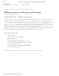 Animal Phyla Comparison Chart Pdf Difference Between Phylum And Division