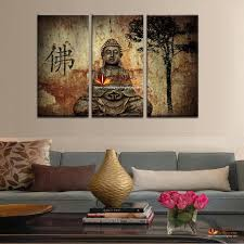 paintings for living room wall2017 Hot Sell 3 Panel Large Buddha Painting Canvas Wall Art Set
