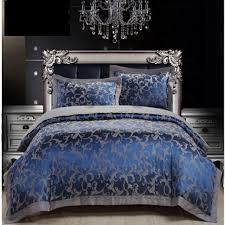 royal blue luxury duvet cover sets 4pc 50 cotton satin bed in king size set decor