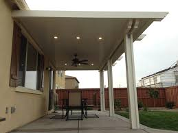 alumawood patio cover with fan and two lightstrips canned lights solid patio cover kits solid patio